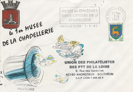 1 ER JOUR FLAMME EXPO CHAPELLERIE MUSEE DE CHAZELLES LOIRE 1983 - Mechanical Postmarks (Advertisement)
