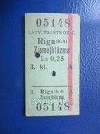 Y1939 Latvia Railway Train Edmondson Ticket / Eisenbahn Fahrkarte Bahnticket Rīga (k.4) - Ziemeļblāzma - Ferrovie