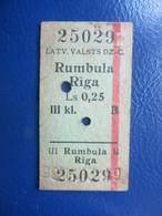 Y1935 Latvia Railway Train Edmondson Ticket / Eisenbahn Fahrkarte Bahnticket Rumbula - Rīga - Ferrovie