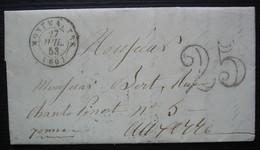 Montmartre 1853 Lettre Taxée 25 Pour Auxerre - 1849-1876: Classic Period