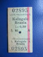 Y1939 Latvia Railway Train Edmondson Ticket / Eisenbahn Fahrkarte Bahnticket Kalngale - Brasla - Ferrovie