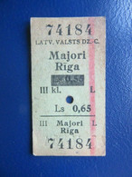 Y1937 Latvia Railway Train Edmondson Ticket / Eisenbahn Fahrkarte Bahnticket Majori - Rīga  RE- PRICED - Ferrovie