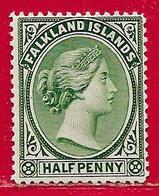 Falkland N°8 0,5p Vert-jaune (filigrane CA, Dentelé 14, 14,5) 1891-96 (*) - Falkland Islands