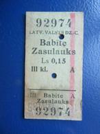 Y1938 Latvia Railway Train Edmondson Ticket / Eisenbahn Fahrkarte Bahnticket Babīte - Zasulauks - Ferrovie