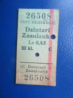 Y1938 Latvia Railway Train Edmondson Ticket / Eisenbahn Fahrkarte Bahnticket  Dzintari - Zasulauks - Ferrovie