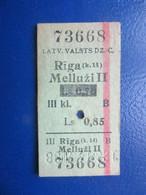 Y1938 Latvia Railway Train Edmondson Ticket / Eisenbahn Fahrkarte Bahnticket  Rīga (k.14) - Melluži II  RE- PRICED - Ferrovie