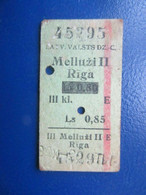 Y1938 Latvia Railway Train Edmondson Ticket / Eisenbahn Fahrkarte Bahnticket  Melluži II - Rīga RE- PRICED - Ferrovie