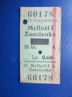Y1938 Latvia Railway Train Edmondson Ticket / Eisenbahn Fahrkarte Bahnticket  Melluži I - ZasulauksRE- PRICED - Ferrovie