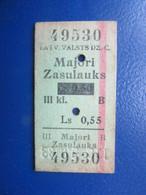 Y1938 Latvia Railway Train Edmondson Ticket / Eisenbahn Fahrkarte Bahnticket  Majori - Zasulauks RE- PRICED - Ferrovie