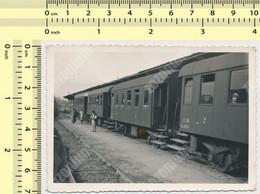REAL PHOTO Train Rural  Railway Station JZ Yugoslavia ORIGINAL VINTAGE SNAPSHOT PHOTOGRAPH - Trains