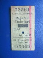 Y1938 Latvia Railway Train Edmondson Ticket / Eisenbahn Fahrkarte Bahnticket  Rīga (k.11) - Dzintari RE- PRICED - Ferrovie