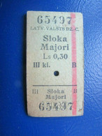 Y1938 Latvia Railway Train Edmondson Ticket / Eisenbahn Fahrkarte Bahnticket Sloka - Majori - Ferrovie