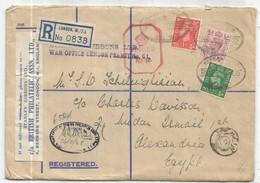 ENGLAND 1D+6D+ 1/2D LETTRE COVER REG LONDON 1943 TO EGYPT CENSOR PASSED PER 34 + WAR OFFICE CENSOR PERMITIN G1° - Storia Postale