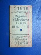 Y1938 Latvia Railway Train Edmondson Ticket / Eisenbahn Fahrkarte Bahnticket Rīga ( K.4) - Šķirotava - Ferrovie