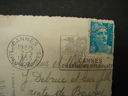 Flamme. 14. Cannes Charmes Méditerranée 1953. Plage Du Midi - Mechanical Postmarks (Advertisement)