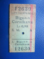 Y1939 Latvia Railway Train Edmondson Ticket / Eisenbahn Fahrkarte Bahnticket Rīga ( K.3 ) - Carnikava - Ferrovie