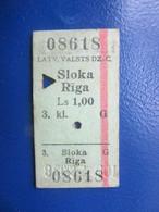 Y1938 Latvia Railway Train Edmondson Ticket / Eisenbahn Fahrkarte Bahnticket SLOKA - RĪGA - Ferrovie