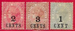 Honduras Britannique N°26 2c Sur 1p, N°27 3c Sur 3p, N°32 1c Sur 1p 1888-91 * - British Honduras (...-1970)
