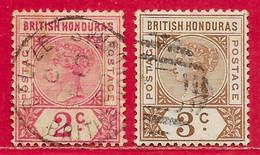 Honduras Britannique N°39 2c Rose & N°40 3c Brun 1891-93 O - British Honduras (...-1970)