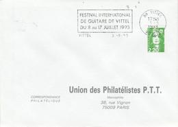 1 ER JOUR FLAMME FESTIVAL INTERNATIONAL DE GUITARE DE VITTEL VOSGES 1993 - Mechanical Postmarks (Advertisement)