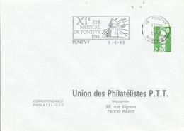 1 ER JOUR FLAMME 11 EME FESTIVAL MUSICAL DE PONTIVY MORBIHAN 1993 - Mechanical Postmarks (Advertisement)