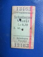 Y1939 Latvia Railway Train Edmondson Ticket / Eisenbahn Fahrkarte Bahnticket SARKANDAUGAVA - VECĀĶI - Ferrovie