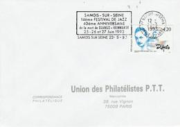 1 ER JOUR FLAMME 14 EME FESTIVAL DE JAZZ DE SAMOIS SUR SEINE SEINE ET MARNE 1993 - Mechanical Postmarks (Advertisement)