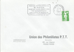 """1 ER JOUR FLAMME FESTIVAL DE MUSIQUE """"LES SANS-SOUCIS"""" à CASTELNAUDARY AUDE 1993 - Mechanical Postmarks (Advertisement)"""