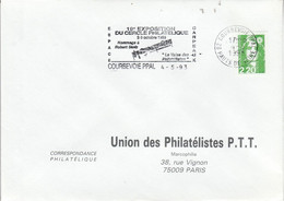 1 ER JOUR FLAMME EXPO PHILA. HOMMAGE à ROBERT STOTZ à COURBEVOIE 1993 - Mechanical Postmarks (Advertisement)