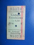 Y1938 Latvia Railway Train Edmondson Ticket / Eisenbahn Fahrkarte Bahnticket LIELUPE - ZASULAUKS - Ferrovie