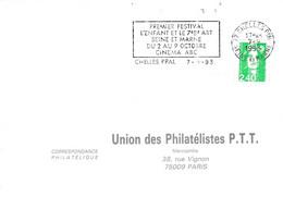 1 ER JOUR FLAMME PREMIER FESTIVAL L'ENFANT ET LE 7 EME ART à CHELLES SEINE ET MARNE 1993 - Mechanical Postmarks (Advertisement)