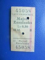 Y1939 Latvia Railway Train Edmondson Ticket / Eisenbahn Fahrkarte Bahnticket MAJORI - ZASULAUKS - Ferrovie