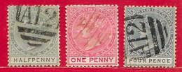 Saint-Christophe N°8 0,5p, N°9 1p, N°14 4p (filigrane CA, Dentelé 14) 1882-90 O - St.Christopher-Nevis-Anguilla (...-1980)