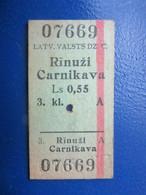 Y1939 Latvia Railway Train Edmondson Ticket / Eisenbahn Fahrkarte Bahnticket RĪNŪŽI - CARNIKAVA - Ferrovie