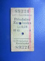 Y1938 Latvia Railway Train Edmondson Ticket / Eisenbahn Fahrkarte Bahnticket PRIEDAINE - ZASULAUKS - Ferrovie