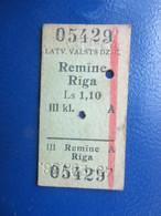 Y1938 Latvia Railway Train Edmondson Ticket / Eisenbahn Fahrkarte Bahnticket REMĪNE - RĪGA - Ferrovie