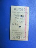 Y1939 Latvia Railway Train Edmondson Ticket / Eisenbahn Fahrkarte Bahnticket DZIRNUPE - VECĀĶI - Ferrovie