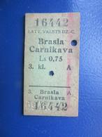 Y1939 Latvia Railway Train Edmondson Ticket / Eisenbahn Fahrkarte Bahnticket BRASLA - CARNIKAVA - Ferrovie