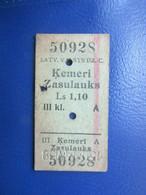 Y1938 Latvia Railway Train Edmondson Ticket / Eisenbahn Fahrkarte Bahnticket ĶEMERI - ZASULAUKS - Ferrovie