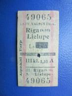 Y1937 Latvia Railway Train Edmondson Ticket / Eisenbahn Fahrkarte Bahnticket RĪGA (k.15)- LIELUPE   TWO WAY   RE- PRICED - Ferrovie