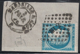CERES - N°60 - LOSANGE AMBULANT - ML2° - SUR FRAGMENT DE LETTRE AVEC CACHET A DATE. - 1849-1876: Classic Period