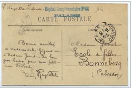 "Cachet ""Hopital Complémentaire N° 44 FALAISE 1915 Frappe Superbe Exp : Infirmier CP FALAISE - Manual Postmarks"