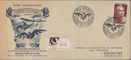 YT 732 Marianne Gandon Seul Sur Lettre Pr Argentine CAD Exposition Ailes Brisées Paris 10 12 47 Cinquantenaire Ader - 1921-1960: Modern Tijdperk