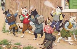 Katzenkinder Beim Verbotenen Rauchen - Verl. Künzli              (P-280-00715) - Gatos