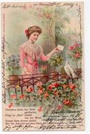 DC4719 - Sehr Schöne Motivkarte, Junge Dame Mit Brief, Weiße Taube, Blütenduft - AK 1904 - Donne
