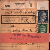 ! 1943 Neukieritzsch , Zurück Label, Bogenrand, Paketkarte, Deutsches Reich, 3. Reich - Covers & Documents