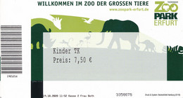 BRD Erfurt Eintrittskarte Ermäßigt 2020 Zoo - Park Elefant Nashorn Affe Flamingo - Tickets - Vouchers