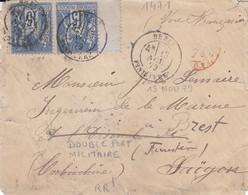 Brest Double Port Militaire 15c Sage Pour Saigon Et Retour Au Dos « Cor D'armées Saigon » RARE - 1849-1876: Klassik
