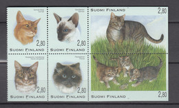 Finland 1995,6V In Block,cats,katten.katzen,chats,gatos,gatti,MNH/Postfris(L3519) - Gatti