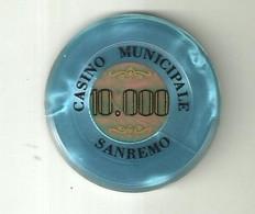 """9892"""" FICHES-CHIPS- CASINO' MUNICIPALE-SAN REMO-10.000 LIRE """" - Casino"""